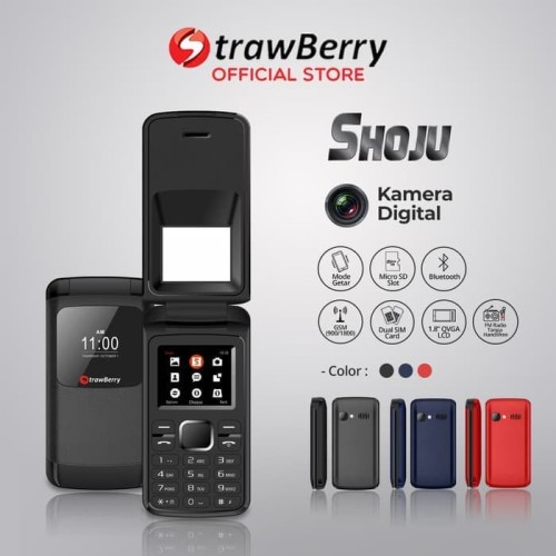 Foto Produk Strawberry Shoju | Handphone Flip HP Murah Kamera Digital Bluetooth dari voucher cellular