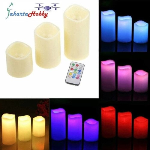 Foto Produk Lilin Elektrik Besar RGB 3pcs LED Big Candle with Remote Control dari Jakarta Hobby