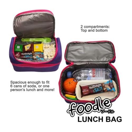 Foto Produk Tas kotak Bekal Makan insulated Lunch Bag Box Kid Teen Foodle smiggle - PinkBiru dari lbagstore