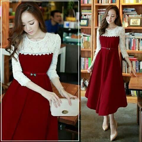 Foto Produk mr dress kori lace midi pakaian wanita baju dari WHITE__SHOP