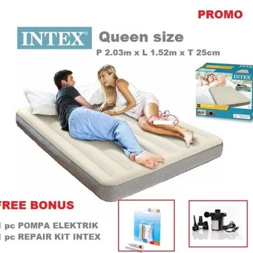 Foto Produk PAKET Kasur Angin Deluxe Dura-Beam INTEX QUEEN + POMPA LISTRIK - CREAM dari INTEX ONLINE