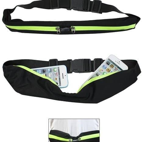 Foto Produk Tas Pinggang Olahraga Jogging Belt Sport Double Pocket Running Belt - Hijau dari Wins Grosir Gallery