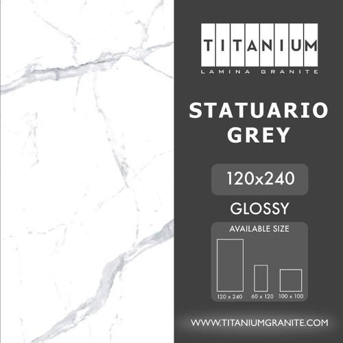 Foto Produk Titanium Granite - STATUARIO GREY -GLOSSY - 120x240 -FREE DELIVERY dari Titanium Lamina Granite