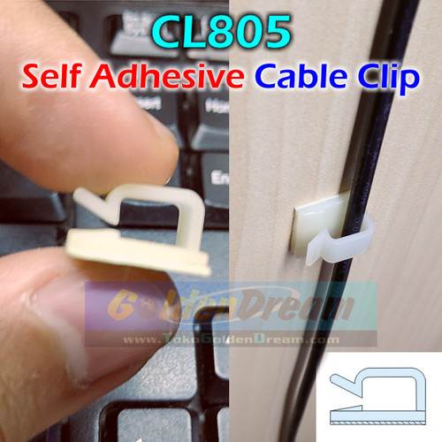 Foto Produk CL805 Cable Clip Wire Mount Clamp Tie Ikat Kabel + Self Adhesive Klem dari Golden Dream