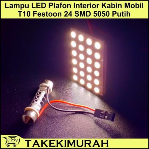 Foto Produk Lampu LED Plafon Interior Kabin Mobil T10 Festoon 24 SMD 5050 Putih dari Takekimurah