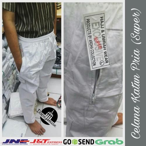 Foto Produk Celana Katun Ihrom Super Pria Haji Umroh Hitam Putih Grosir Murah - Putih, M dari Dans House