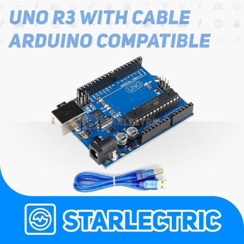 Foto Produk Uno R3 with Cable - Arduino Uno Complatible Atmega328p dengan kabel dari Starlectric