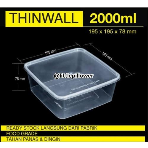 Foto Produk Thinwall 2000ml/Kotak Makan lunch box plastik/Kotak bekal/Kotak salad dari Little Pillower