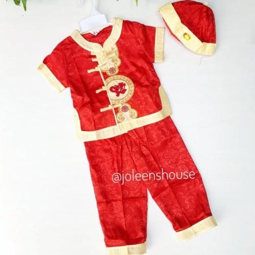 Foto Produk Cheongsam Set Boys Red Baju Imlek Setelan Anak Laki - S dari Joleen's House