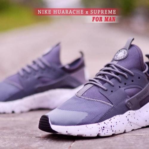 Free Sale Sepatu Murah Pria Sport Nike Huarache Gray Sol White - Abu-abu