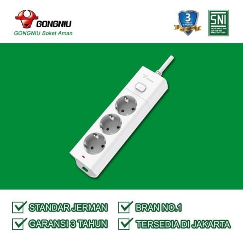 Foto Produk Stop Kontak GONGNIU 3 Lubang 1 Tombol On/Off Panjang kabel 5 meter dari Gongniu Official Store
