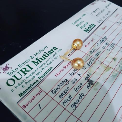 Foto Produk anting emas mutiara laut asli lombok , giwang emas mutiara laut asli dari Ouri Mutiara Lombok
