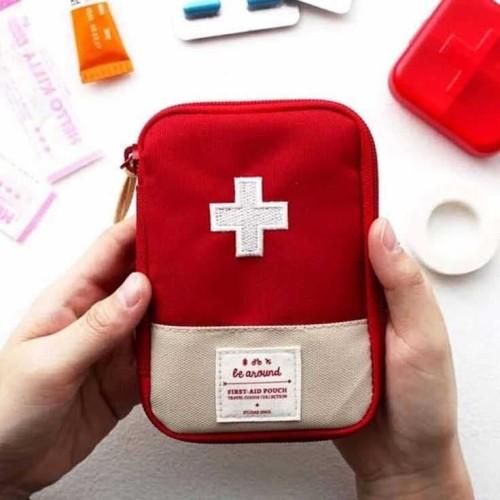 Foto Produk Tas First Aid Kit P3K Tas Tempat Obat Peralatan Organized P3K Mini - Merah dari lbagstore