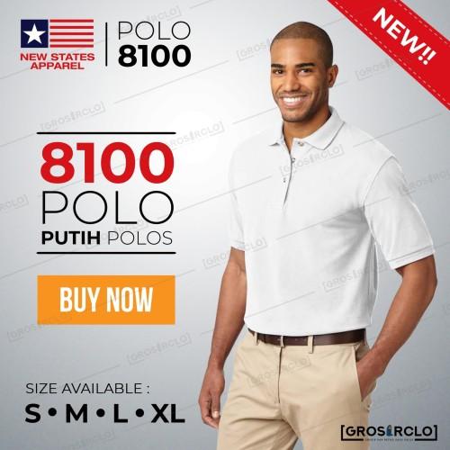Foto Produk Kaos kerah Polo New States Apparel NSA Premium Cotton 8100 White S-XL dari Grosir clo