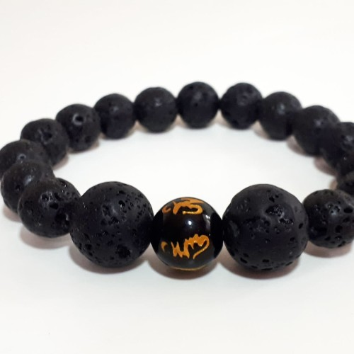 Foto Produk VeE Gelang Batu Lava Lahar Gunung Berapi Dim 10 Kombinasi Giok Ukir dari Vee Jewelry