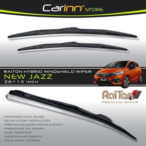 "Foto Produk Raiton Sepasang Wiper Hybrid Kaca Depan Mobil Honda New Jazz 26""&14"" dari Carinn Store"