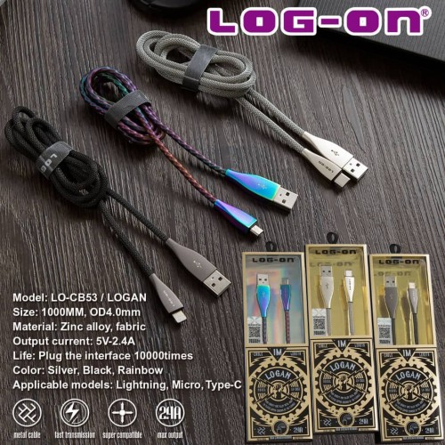 Foto Produk Log On Logan Kabel data charger iphone Lightning Zync Alloy LO-CB53 - Black dari Log-on Official Store