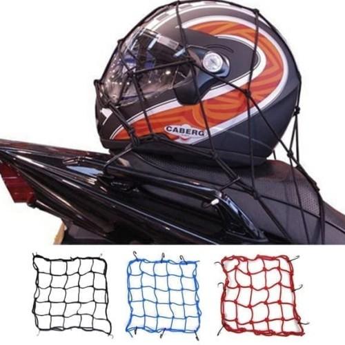 Foto Produk Jaring Helm Motor Sepeda Tali Pengikat Barang Bagasi Helmet Net - Hitam dari lbagstore