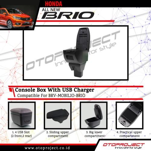 Foto Produk Console Box armrest Tengah Hitam dengan usb all new brio 2018 dari Mega Oriental Motor