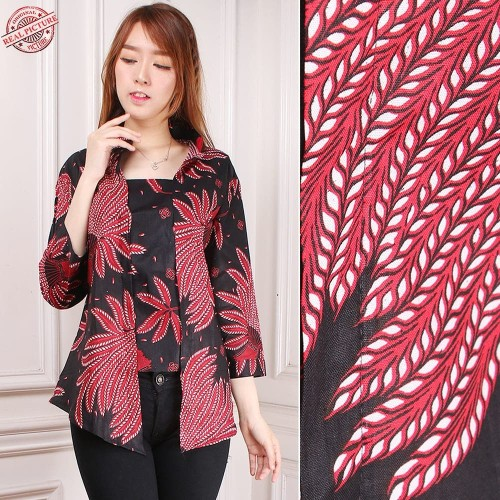 Foto Produk Atasan Abaya Blouse Henwy Lengan 7/8 Batik Wanita - Merah Muda, M dari holy Beauty