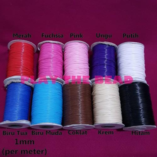 Foto Produk Bahan Tali Korea Mengkilap Tebal 1mm utk Kalung, Gelang, dan Aksesoris - Hitam dari Play The Bead
