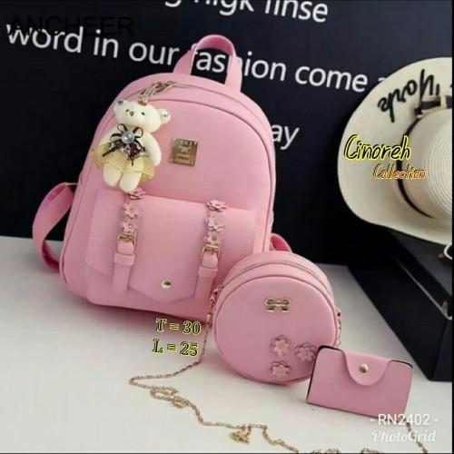 Foto Produk Tas Ransel Wanita Amora Backpack Paket 4in1 - Cokelat Muda dari KebunKoe