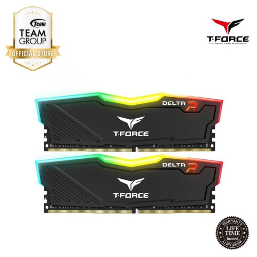 Foto Produk Team Memory Delta Tforce RGB 2x4GB PC 3000 DDR4 - Black dari Teamgroup Official Store