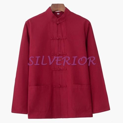Foto Produk Baju Tradisional Cheongsam Cina Oriental Pria Laki Lelaki Dewasa Merah dari Silverior