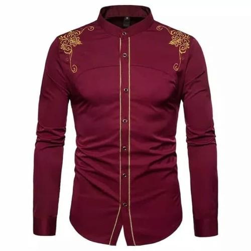Foto Produk Baju Kemeja Koko Bastile Maron Bordir Batik Imlek Motif Cina Pria dari Sang_Fajar