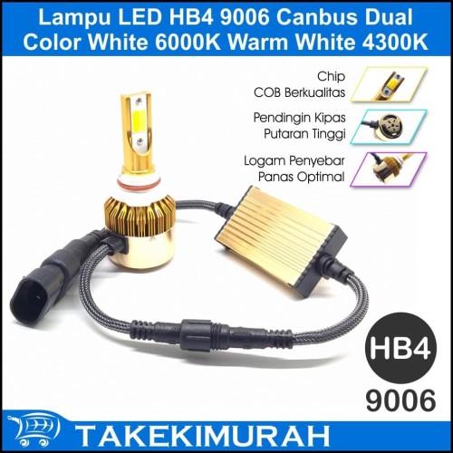 Foto Produk Lampu LED HB4 9006 Canbus Dual Color White 6000K Warm White 4300K dari Takekimurah