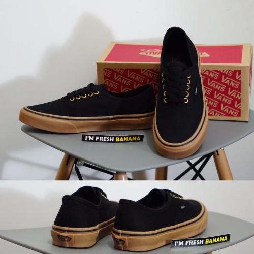 Foto Produk Sepatu Vans Authentic Black Rubber Gum Brown Hitam DT Premium dari Fresh Banana