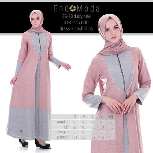 Foto Produk Gamis Endomoda 3G 28 Dusty Pink - Dusty Pink, S dari assalam busana