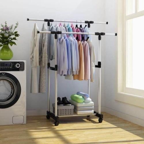 Foto Produk X25 Stand hanger double portable Rak gantungan gantung baju pakaian dari supplier beauty