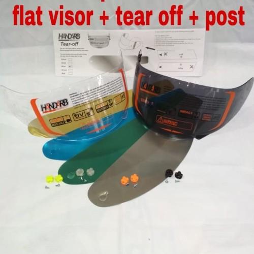 Foto Produk paket kaca helm flat visor + tear off + post KYT r10 KYT Rc7 KYT k2r dari Anugerah Helmet