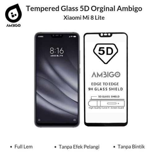Foto Produk Tempered Glass 5D Xiaomi Mi 8 Lite Full Cover Ambigo Original - Hitam dari Jagonya Case