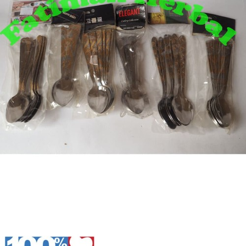 Foto Produk Sendok teh - Tea Spoon Stainless Steel Motif- 6 Pcs dari Fatimah Herbal