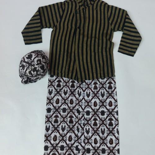 Foto Produk Baju Lurik Anak Laki-Laki/ Setelan Baju Lurik Adat Jawa Anak Laki-Laki - 5-6 tahun dari Tiwi Batik