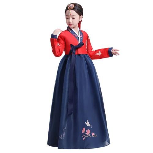 Foto Produk Hanbok girl anak dress korea kostum korean traditional clothes long 2 - Red Navy, 110 dari Baby Angeline Shop