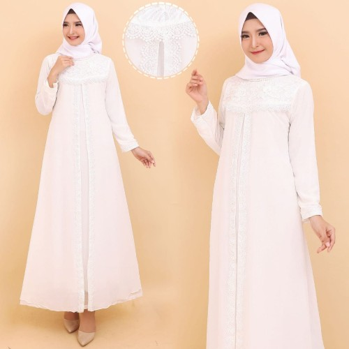 Foto Produk Gamis Putih Premium / Gamis Lebaran / Gamis Syari / Gamis Pesta 1142 - White XL dari Hitjab & Co