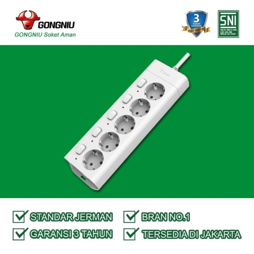Foto Produk Gongniu Stop Kontak 5 lubang Multi Switch GNID G3050 (3 Meter) dari Gongniu Official Store
