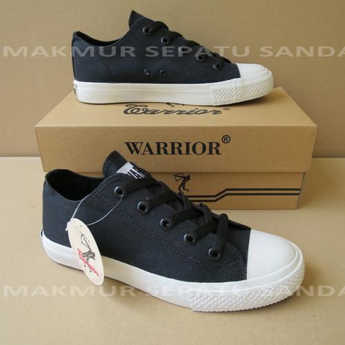 Foto Produk Sepatu Sekolah - Warrior Sparta LC - Hitam Hitam Putih - 37 dari Makmur Sepatu Sandal