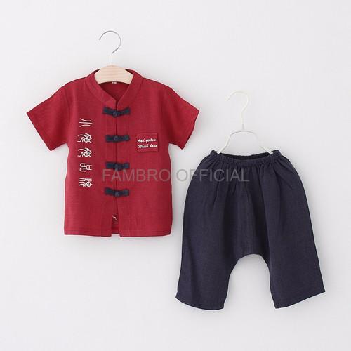 Foto Produk Baju China Anak Cheongsam Kids Laki Setelan imlek anak cowok Baju SD dari fambro official