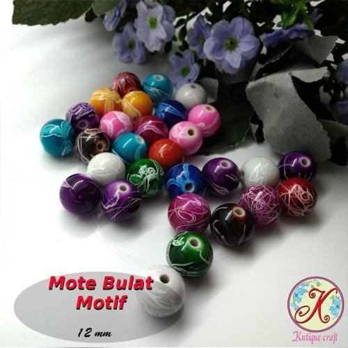 Foto Produk Mote Bulat Motif 12mm per 20 pcs mix (aplikasi bros, kalung, gelang) dari Kutique Craft
