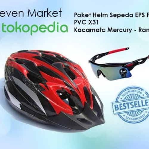 Foto Produk Paket Helm Sepeda EPS Foam PVC X31 Dan Kacamata Sepeda Mercury dari seven7 market
