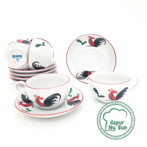 Foto Produk 6 Pasang Cangkir Set Seri 8 Ayam Jago Seri 2 / Cangkir Kopi / Teh dari Dapur Ny.Bun