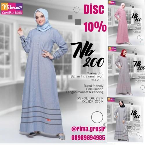 Foto Produk Original Terbaru 2019 Gamis Nibras NB 200 Dress Muslimah Branded Promi dari Galeri Nibras