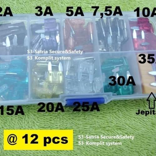 Foto Produk variasi sekring tancap kecil 2A s.d 35A / Mini Fuse blade kit dari flipper