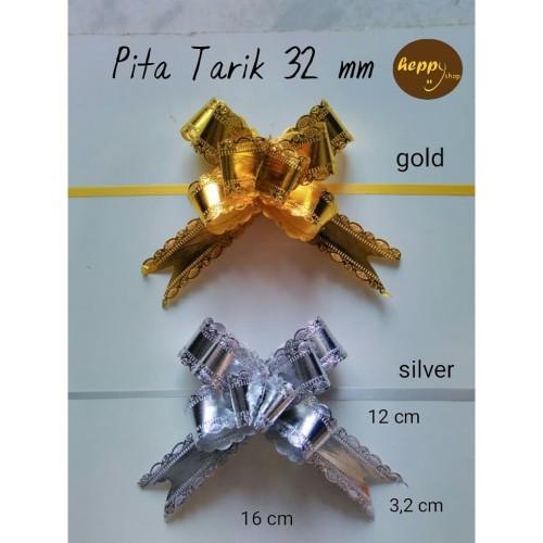 Foto Produk Pita Tarik Gold Silver 32 mm, Pita Serut - Gold dari heppyshop heppy