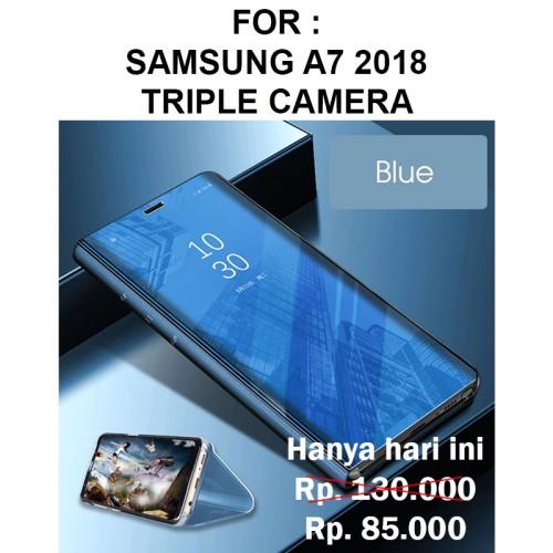 Foto Produk Case Samsung A7 2018 Triple Camera casing hp FLIP COVER STAND SVIEW dari Case Pedia