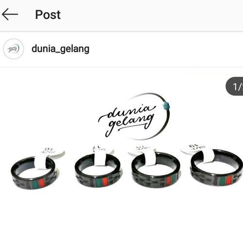 Foto Produk Cincin Gucci Hitam Pria Wanita Cincin Cowok Cewek cincin Couple dari DHV store